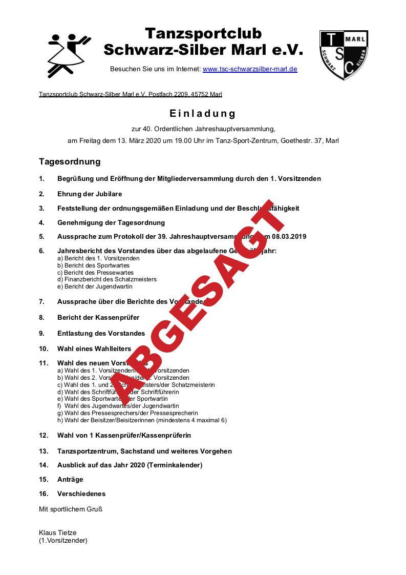 13.03.2020 - Jahreshauptversammlung - ABGESAGT