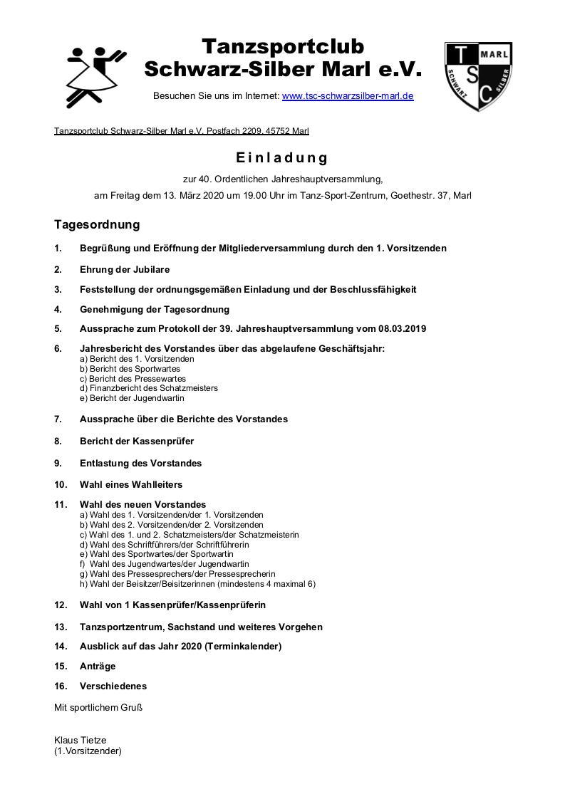 13.03.2020 - Jahreshauptversammlung